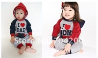 6pcs/lot-Letter Kids one-piece/Long sleeve Baby rompers for Summer and Winter/Kids Sweaters/I love mom and i love dad Wear