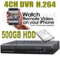 Wholesale 4CH CCTV standalone dvr video recorder with Full D1 recording SY-D9604V free shipping+500GB HDD included