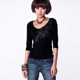 New Arrival! Fashion Folk Style Long Sleeve Womens Tee Shirt Ladies Cotton Shirt Clothes t shirt Tops for women L571(China (Mainland))