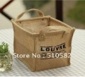 Hot ! New 3 sizes Nature Linen clothes Storage Box/Barsket  Set with 2 carring Handle 3pcs/set Free Shipping