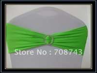 Free shipping / Top  quality lime green lycra spandex chair band with diamond buckle