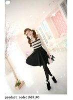 Women's Cute Black O-Neck Patchwork Above Knee Long Sleeve Straight  Dress - 1587100