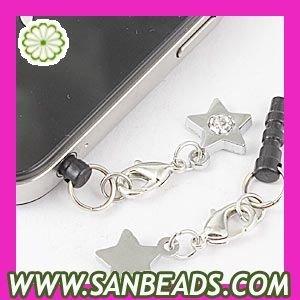 Free Shipping! 10pcs/lot pendant:10 NEW Stars design dustproof plug earphone jack dust cap plug for phone Wholesale,EC0058