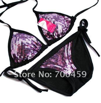 1Set Sequin sexy fashion Halter Bikini Swimwear NEW Bikini Swimwear bra+briefs Swimwear +Free Shipping