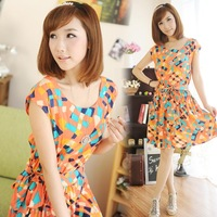 Free Shipping M2-2 dress contrast color geometry graph slim bow belt sleeveless one-piece dress