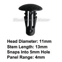 100 Pcs Replace Nissan 01553-00401 Retaining Clip Automotive Plastic Clip Black Nylon Retainer Auto Fastener Car Body Trim Rivet