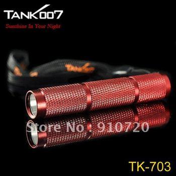 Mail Free + 5PCs Tank007 TK703 Flashlight XR-E Q5 LED 1 Mode120 lumens Waterproof Hand Torch Red / Black Mini High Power Torch