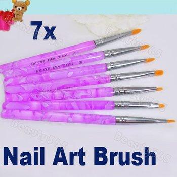 10set/Lot 7pcs UV Gel Acrylic Nail Brush Set Art Builder Flat Painting Pen Design Free Shipping 1496