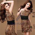 2012 Dress New Sexy Fashion Women's Crew Neck Leopard print Mini Dress free shipping