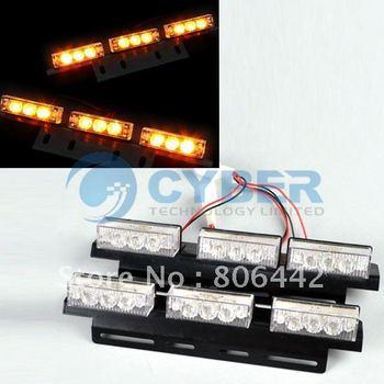 18 LED Car Flash Strobe Blink Security Warning Light Amber LED Flash Light Retail & Wholesale