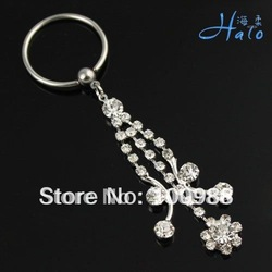 BN0066!10PCS/Lot!Free Shipping! body Products Ladies' Piercing Stainless Steel Rhinestone Crystal Girl Fashion Nipple Jewellery(China (Mainland))