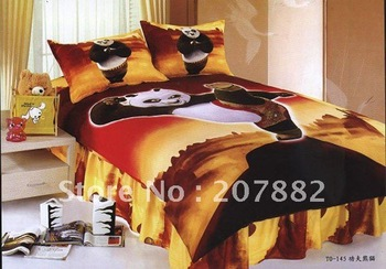 Free Shipping By DHL,UPS.EMS!! Gungfu Panda Cotton Single Bedding set Carotoon Children Bed Sheet A0787 On Sale Wholesale