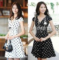 Women Fashion Slim V-Neck Dot Artificial Silk Dress Skirt Evening Dress
