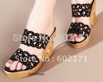 Summer new fashion pump womens Cool slippers leather slope with wood heels shoes Sexy rhinestone cut-outs rivets,Free Shipping