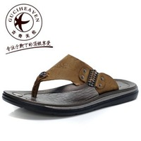 Free Shipping Fashion 100% Cow Leather Men's Outdoor Beach Flip-flops Sandals,Cow Leather Leisure Slippers Sandals Wholesale
