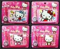 Free Shipping !Fashion Watch Set Hello Kitty Cartoon Wristwatch Children Watch Gift Set (watch +wallet) A0811 Wholesale