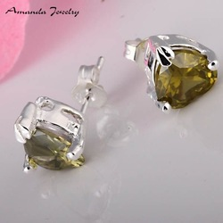 S-E087-2 wholesale,heart 925 silver earrings,with gree crystal,fashion jewelry, high quality,Nickle free,Factory price(China (Mainland))