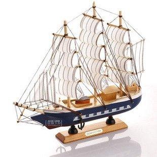 New Arrival Mediterranean Style Handcraft Sailing Boat wooden Model Ship,Wooden Craft, 4 Design 30cm