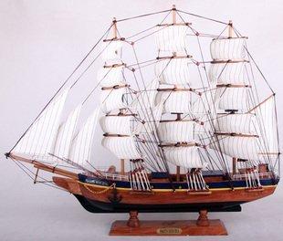 New Arrival Mediterranean Style Handcraft Sailing Boat wooden Model Ship,Wooden Craft, 4 Design 60cm