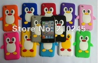 Free Shipping Wholesale 1000pcs Cute Penguin Silicone Soft Back Cover Shell Skin Case For iPod Touch 4 4G