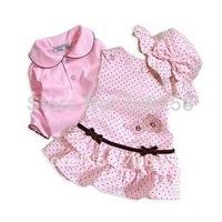 3sets/lot Baby Clothes Set girl Summer cotton Top+dress+hat/cap 3-piece set,Bowknot Pink Princess suit,infant wear 335