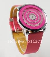 Free Shipping Promotion Pink Wave Plate Sugar Women Men's Quartz Leather Belt Wrist Watch