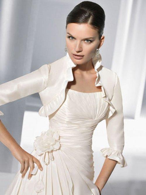 Aliexpress Buy Custom Half Sleeve White Ivory Taffeta Ruffle Bridal Wedding Jacket FJ08