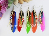 12pairs Colourful Fashion Natural Feather Earrings W/beads #21068