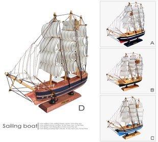 New Arrival Mediterranean Style Handcraft Sailing Boat wooden Model Ship,Wooden Craft, 4 Design 33cm
