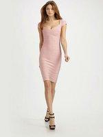HA010 designer lady's nude pink cap sleeve knee length bandage dress 2012 Free shipping