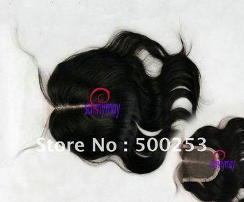 """Middle Part Natural black Color Virgin Brazilian Human Hair 4""""*4"""" Lace Closure Deep Center Part closure"""