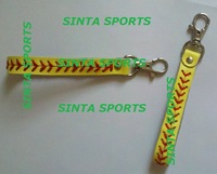 free shipping small order real leather yellow softball seam Keychain 200 pcs/lot