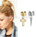 New arrival hot sale 2designs gold cross silver spikes dangle charm non-pierced ear cuff earrings  Free shipping