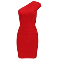 Bandage Dress H107 Red One-shoulder Party Dress