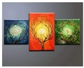 hand-painted wall art Three color forest sunshine home decoration abstract Landscape oil painting on canvas 3p