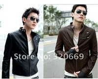 Free shipping 2012  Leisure leather motorcycle cultivate one's morality,  man leather jackets coat, male dust coat.