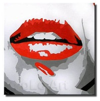 Hand Painted Contemporary Modern Black/White Sexy Full Red Lips Pop Art Oil Paintings oLo PP026