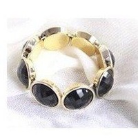 Min.order is $5 (mix order)free shipping,Fashion Women Bangel,korean Black pearl  Bracelet,gold plated Shiny Bracelet(B086)