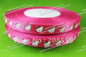 R006 cartoon kitty printed ribbons 10mm width rose pink color 50 yards/roll satin ribbon for craft decoration