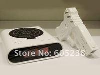 Free shipping Oversleep Killer Gun Alarm Clock With LED Display Table Clock
