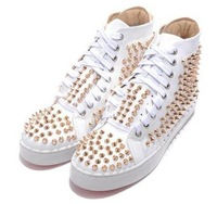 free shipping,mens shoes,studded sneakers,gold Nail sneakers,mens Casual shoes,womens sneaker