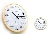 Free shipping Pop Quiz Math Equations Wall Clock (Wood + Glass)
