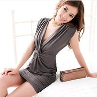 Women's 2012 summer sexy slim V-neck tight slim hip basic one-piece dress tank dress
