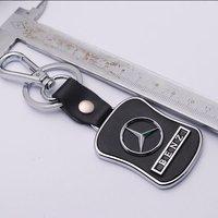 New!!! Fashion Mercedes-Benz Car Logo Key Ring Metal Key Chain Leather Keychain key006