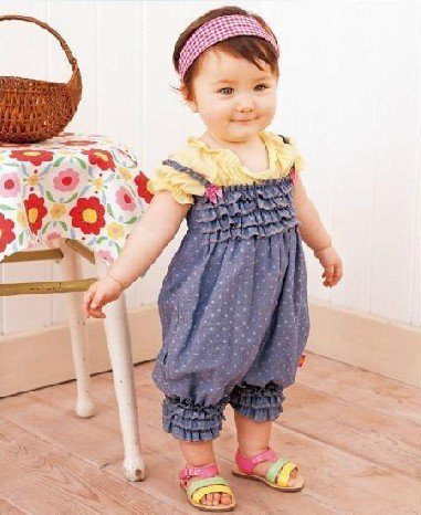 2013hot sale 3 pcs lot baby girls rompers jeans blue polka dots baby