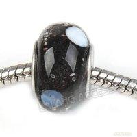 Free Shipping 30pcs/lot Black White Point Murano Lampwork Glass Charms Bead  Fit European Bracelet 14*1*9mm On Sale 151795