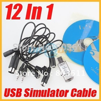 New 12 In 1 USB Simulator Cable /USB Dongle for RC Helicopter Airplane VRC Car Real Flight free shipping