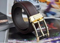 Free Shipping +First Class Leather Mens Genuine Leather Belt  Man Luxury Belts Golden  Buckle Best Gift Present