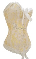 Hot Sales/Free Shipping+new Yellow Sexy Satin Lace up Corset Bustier Tops Lingerie come with G-String S M L XL 2XL