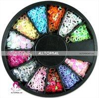 100 set/lot 12 Color Nail Art Glitter Shape Hollow Heart Paillette Decoration - DHL Free shipping